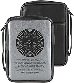 Armor of God Metallic Silver Polyurethane Bible Cover, Large Print