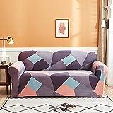ASCV Funda de sofá con Estampado de Cuadros Antipolvo Funda de sofá Lisa de algodón Fundas de Muebles con Todo Incluido Funda seccional en Forma de L A1 3 plazas