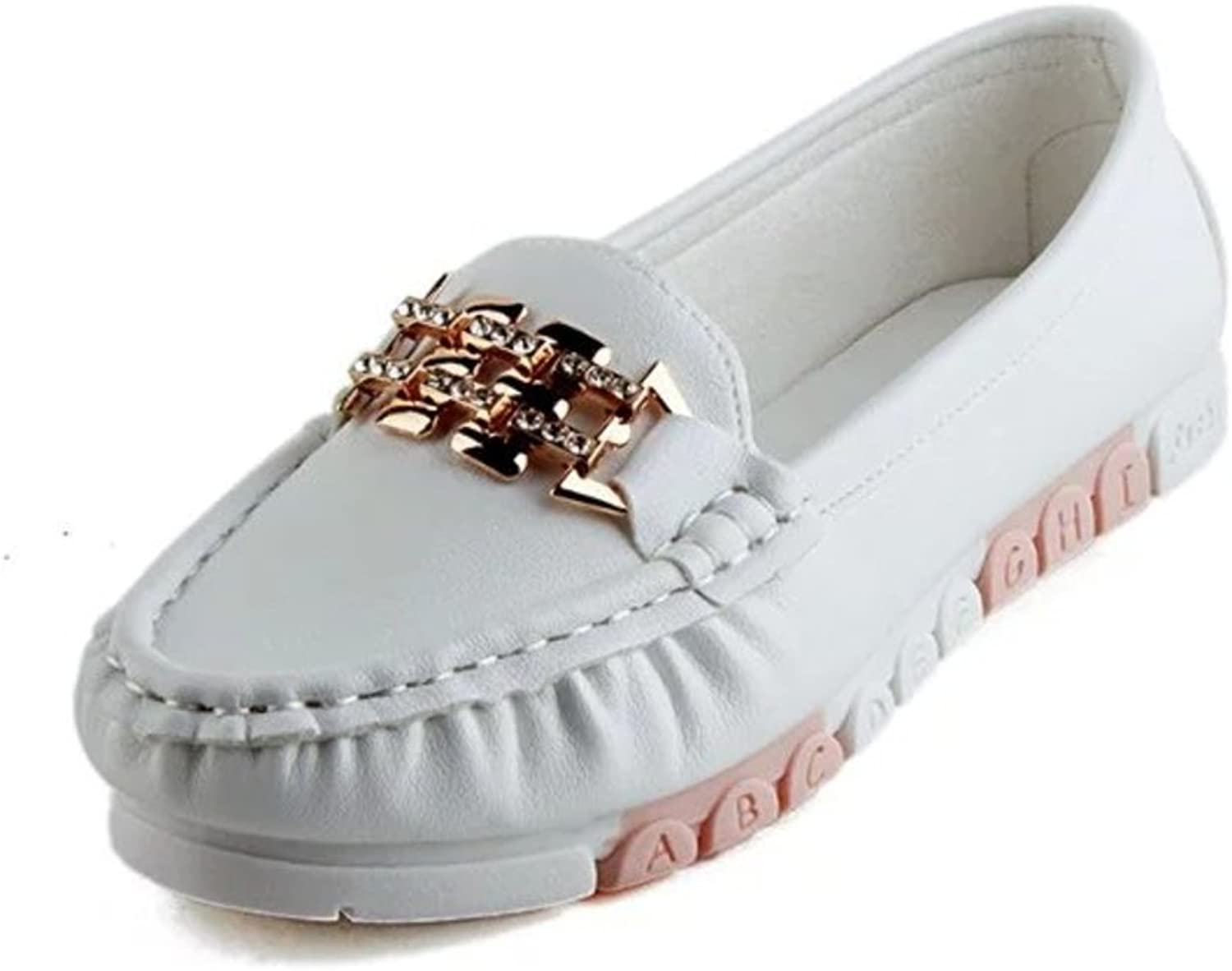 RHFDVGDS Spring and Autumn Lady Bean shoes Round-Headed Shallow Flats Pregnant Women shoes