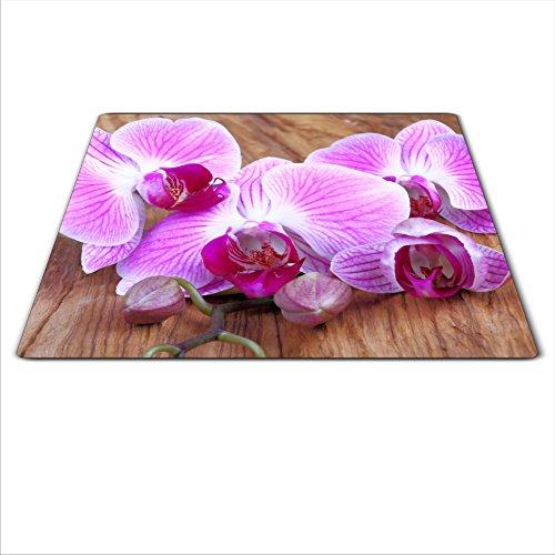 Universal Board pour protéger Réchaud : Verre, céramique, Induction et gaz, chaque Tableau dispose de 4 pieds en silicone qui protège contre les rayures, saturation des couleurs profondes grâce au carte graphique HD, dimensions : 60 x 52 cm, Thème : Fleur, couleur : rose