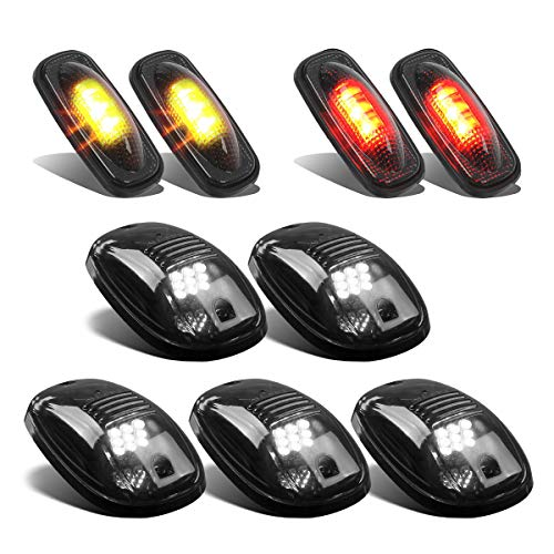 Partsam Smoke Set 5PCs Cab Top Roof Running Marker Clearance Light White + 4PCs Led Side Fender Marker Lights Amber/Red Replacement for Ram 2003-2009 and 2011-2017 Ram Pickup Trucks Dually Bed