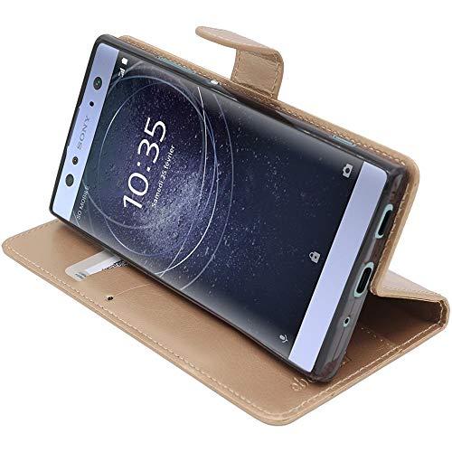 ebestStar - kompatibel mit Sony Xperia XA2 Ultra Hülle XA2 Ultra/Dual (2018) Kunstleder Wallet Hülle Handyhülle [PU Leder], Kartenfächern, Standfunktion, Gold [Phone: 163 x 80 x 9.5mm, 6.0'']