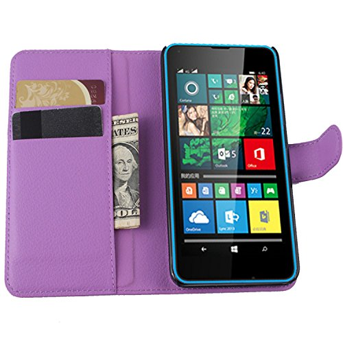 Ycloud Tasche für Microsoft Lumia 640 Dual-SIM Hülle, PU Ledertasche Flip Cover Wallet Hülle Handyhülle mit Stand Function Credit Card Slots Bookstyle Purse Design lila