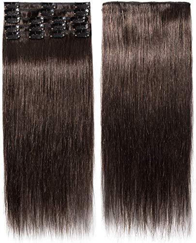 Clip In Extensions Echthaar Dünn Haarverlängerung 100% Remy Echthaar 8 Tressen 30cm-55g (#2 Dunkelbraun)