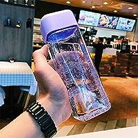 RCDD スクエアプラスチック水が漏れないアウトドアスポーツ旅行キャンプは、学校カップボトルポータブル透明なボトルフルーツジュースボトル (Capacity : 600ml, 色 : Violet (zi se))