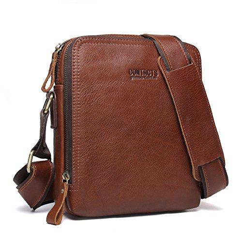Contacts Echtes Leder Mens iPad Messenger Crossbody Tasche Tote Handtasche Braun