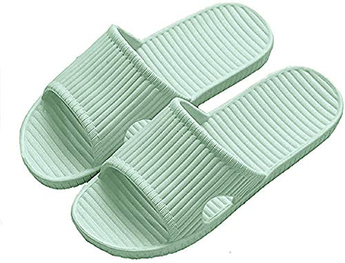 APIKA Frauen und Männer Anti-Rutsch-Hausschuhe Innengebrauch Im Freien Bad Sandale Soft Foam Sole Pool Schuhe Haus Heim Rutsche(Grün,40/41 EU)
