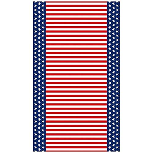 """Stars and Stripe Flannel-Backed Patriotic 4th of July Party Table Cover Reusable Tableware, 1 Pieces, Vinyl, Patriotic theme, 52"""" x 90"""" by Amscan"""