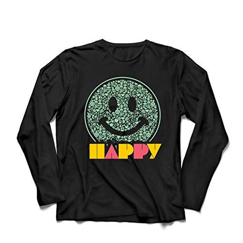 lepni.me Camiseta de Manga Larga para Hombre Emoción Sonriente Inspiradora Emoción Feliz Emoticón (XXXX-Large Negro Multicolor)