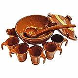 Juego queimada mini individual 4 x 7,5 cm + Cazo 18 x 5 cm artesano color marrón