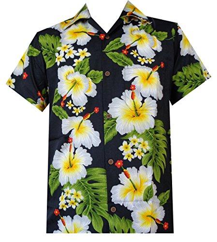 Camisa hawaiana para hombre con estampado de flores de hibisco para playa, fiesta, aloha campamento hawaiano para hombre - Negro - X-Large