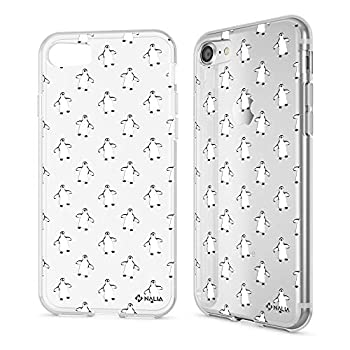 NALIA Case Compatible with iPhone SE 2020/8 / 7 Motif Design Ultra-Thin Silicone Pattern Cover Phone Protector Skin Slim Fit Gel Bumper Protective Anti-Choc Backcover Motiv Penguins