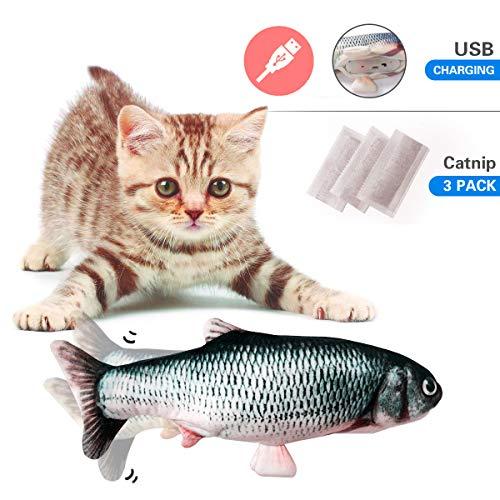 Vockvic Katzenspielzeug mit Katzenminze, Elektrische Puppe Fisch Plüschtier, Katze Interaktive Spielzeug 30CM Simulation Fisch, USB Elektrische Plüsch Kauen Spielzeug für Katze/Kitty/Kätzche