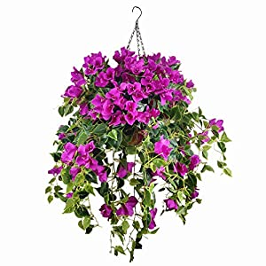 Mynse Set of Hanging Coconut Palm Basket Artificial Bougainvillea Glabra Flowers Hanging Flowerpot with Silk Flowers Purple with Red (A Small Basket with Flower)