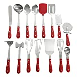 Pioneer Woman Frontier Red 15 Pc Set Kitchen Tool Stainless Steel Spoon Whisk Spatula Set