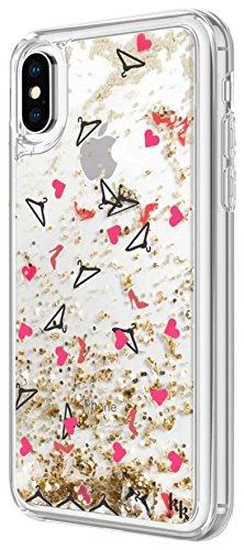 Kendall and Kylie–Cover di Protezione a Brillantini per iPhone x–Paillettes & Scarpe, Grucce, Cuori Oro/Argento/Rosso
