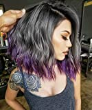 AISI BEAUTY Purple Wig Wavy Bob Wigs Ombre Purple Wig for Women Natural Side Part Short Wave Shoulder Length Synthetic Heat Resistant Fiber Hair.