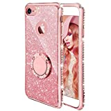 Compatible Apple iPhone 6 Plus 6S Plus Case, ANERNAI Thin Ring Holder Kickstand Glitter Sparkle Bling Diamond Luxury Soft Silicone Girls Women Protective Cover (Rose Gold)