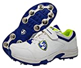 SG New Seamer Cricket Shoes with Full Metal Spikes - 7 UK (White/Lime/Blue)