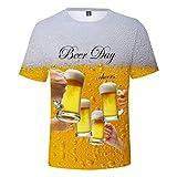 メンズ トップス 大きいサイズ Monikall(モニカル) Tシャツ メンズ 半袖 ビール 3Dプリント プルオーバー カジュアル 丸い襟 ティーシャツ 薄手 通気性 夏服 おおきいサイズ ポロシャツ おしゃれ トレーナー ゴルフ ヒップホップ ストリート スウェット オシャレ 人気 トップス(イエロー,3XL)