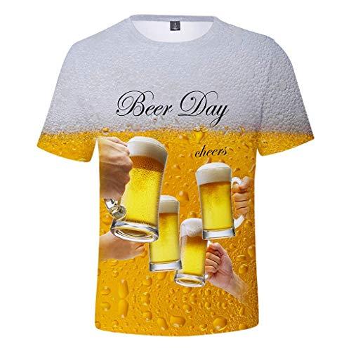 Arestory Heren Zomer T-Shirt Bier Festival 3D Gedrukt Top Blouse Mens Korte Mouw Basic Tee Crew Neck Nieuwe StyleFancy Tops Teen Jongens Casual Sport Sweatshirt Originele Pullover Strand Vakantie