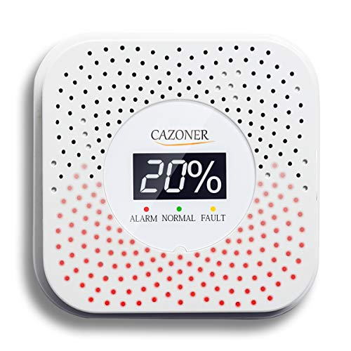 Cazoner Natural Gas Detector and Propane Alarm, Methane, Butane, LPG, LNG, Home Gas Alarm for Kitchen, Camper, or RV, Visual Audible High Sensitivity Gas Leak Alarm with LCD Display;Dual USB Power