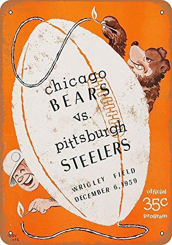 MiMiTee Chicago Bears Vs. Pittsburgh Steelers Blechschild Vintage Metall Warnschilder Eisen Art Plaque hängen Poster Auto Promi Hof Garten Cafe Bar Pub öffentliches Geschenk