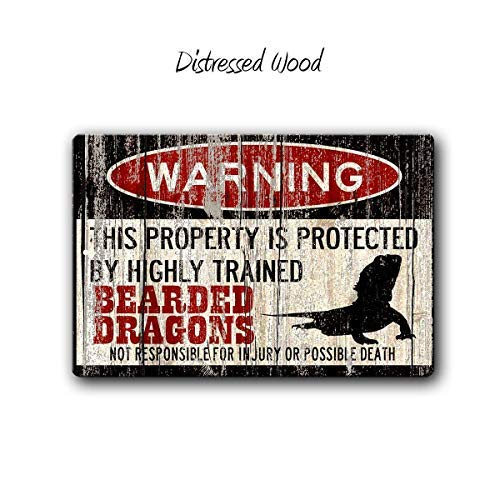 Yilooom Bearded Dragons Sign,Funny Metal Signs,Bearded Dragon Accessories,Lizard Warning Sign,Pet Gift, Small Pet,Metal Sign,SS1_007-2
