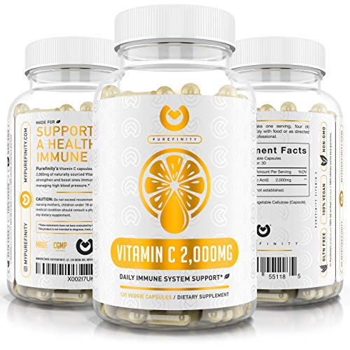 Vitamin C Immune Booster 2000mg - Double Strength Immune Support Vitamin C Supplement with High Absorption Ascorbic Acid Supports Immune System, Collagen Booster & Powerful Antioxidant.