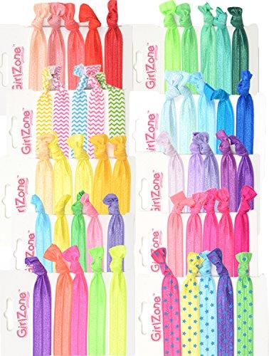 GirlZone Regalos para Niñas - Coleteros Niña, Para Cabello y Pulsera - Gomas De Pelo Niña - Paquete 50 Coloridos Accesorios Pelo Niña - Regalo 3 a 12 años