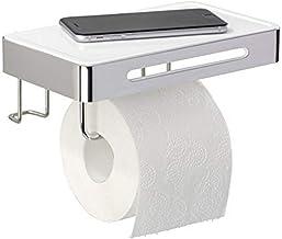 WENKO Premium Plus Toiletpapierhouder met legplank, roestvrij staal, 22 x 9,5 x 15,5 cm, glanzend