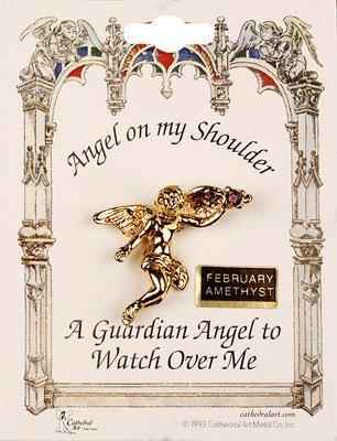Febrero de amatista ángel broche de encanto