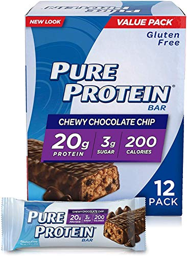 Pure Protein Bars High Protein Nutritious Snacks to Support Energy Low Sugar Gluten Free Chewy Chocolate Chip 176oz 12 Pack