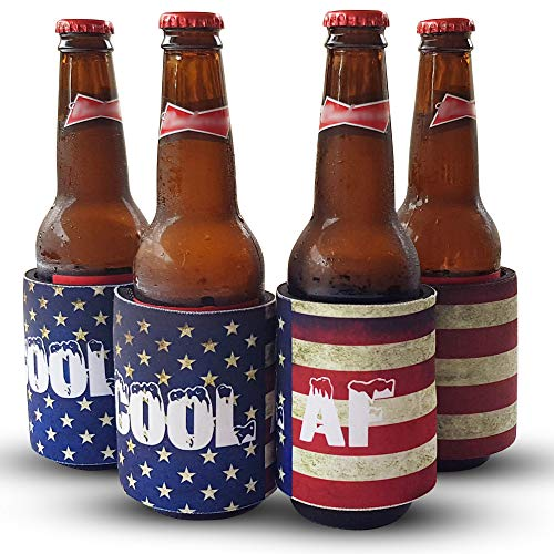 SavillRow Can Cooler Sleeve, Coozie, Slap Wrap, Dirty USA Flag, Cool AF, 4 Pack
