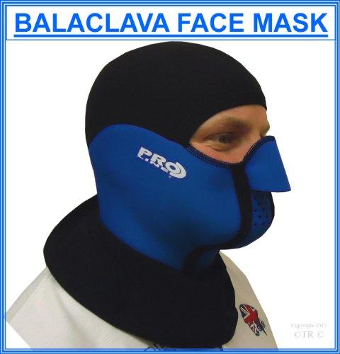 Proline Cagoule Masque en Néoprène et Lycra – Noir – petit Large Bleu - Bleu