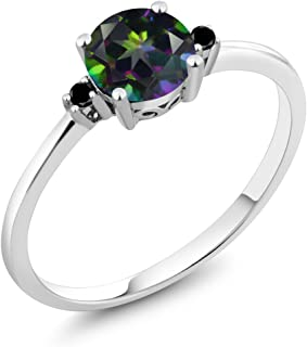 10K White Gold Engagement Solitaire Ring set with 1.03 Ct Round Green Mystic Topaz and Black Diamonds