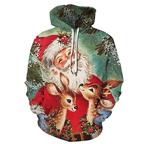Weihnachtspullover Herren Damen Weihnachten Pullover Unisex Hässliche Sweatshirts Hoodies Jumper Druck 3D Ugly Christmas Sweater Langarmshirts Santa Xmas Lustige