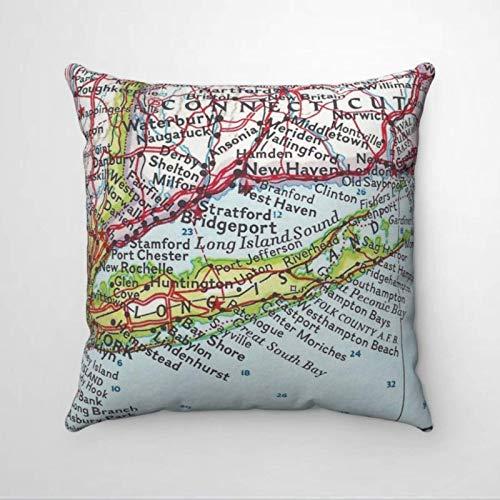 Long Island Vintage Map Soft Microfiber Pillow Home Square Ornament Kissenbezug