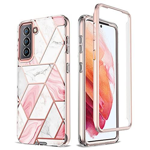 Keteen - Cover per Samsung Galaxy S21, 360 gradi, trasparente con glitter marmo, antigraffio, senza proteggi schermo, per Samsung Galaxy S21, colore: Rosa