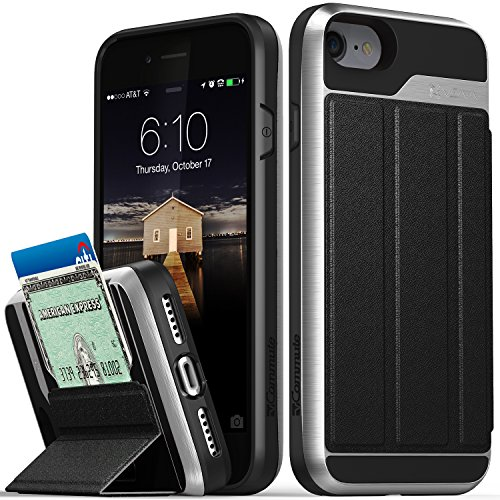 iPhone 8 Wallet Case, iPhone 7 Wallet Case, Vena [vCommute][Military Grade Drop Protection] Flip Leather Cover Card Slot Holder with KickStand for Apple iPhone 8 / iPhone 7 (Space Gray / Black)
