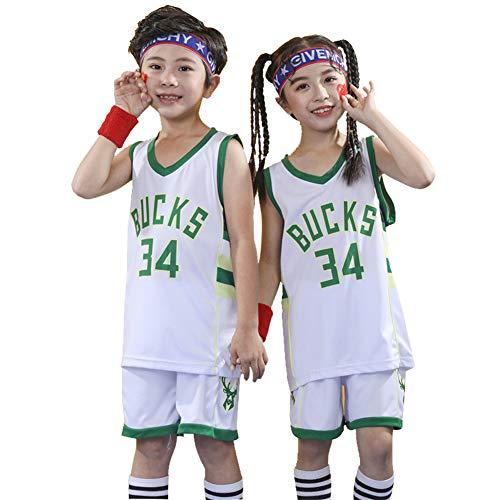 Bucks #34 Antetokounmpo Top und Shorts 2er Set für Jungen Ärmelloses Weste Top Shorts Kinder Basketball Trikot Training Sommer Uniform M weiß