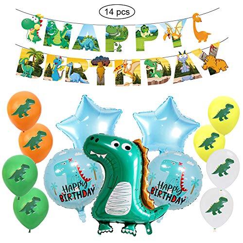 SUNSK Geburtstagsballons Dinosaurier Luftballons Happy Birthday Girlande Runde Latexballon Stern Folienballon Geburtstag Deko für Kinder 14 Stück