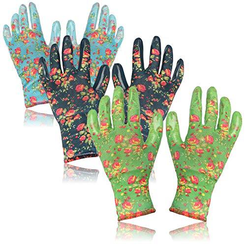 com-four® 3X Paar Gartenhandschuhe in Größe L - Schutz-Handschuhe im Blumen-Design mit Gummibeschichtung [Auswahl variiert] (03 Paar - grün/blau - L)