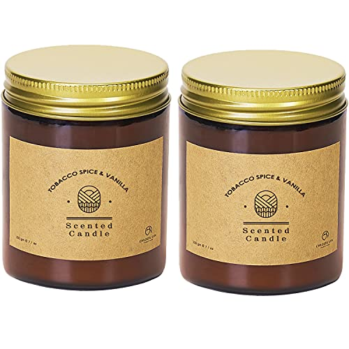 Chloefu LAN Tobacco, Spice & Vanilla Scented Candles Sets Luxury Soy Jar Candle 200g|45 Hour Long Lasting Highly Scented Best Gifts for Men All-Natural Soy Wax Candle Gifts for Women and Men 2 Pack