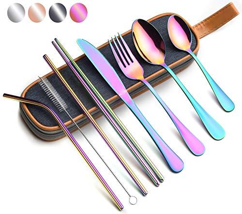 EvaCrocK Travel Utensils | 9-Piece Portable Camping Silverware Set Including Knife Fork Spoons Straws Chopsticks Cleaning Brush, Reusable Utensils Stainless Steel Travel Flatware [9 Piece Rainbow]