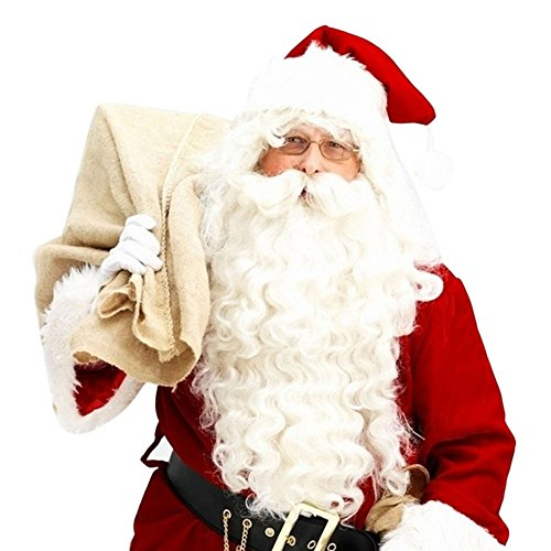 Beikoard 2018 Santa Claus Peluca + Barba Conjunto Traje