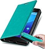 Cadorabo Hülle für Sony Xperia M5 in Petrol TÜRKIS - Handyhülle mit Magnetverschluss, Standfunktion & Kartenfach - Hülle Cover Schutzhülle Etui Tasche Book Klapp Style