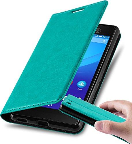 Cadorabo Hülle für Sony Xperia M5 - Hülle in Petrol TÜRKIS – Handyhülle mit Magnetverschluss, Standfunktion & Kartenfach - Hülle Cover Schutzhülle Etui Tasche Book Klapp Style