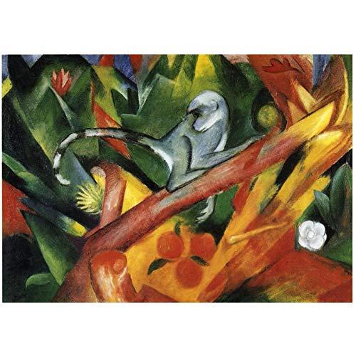 Franz Marc The Monkey 1912 Reproducciones de pinturas Pintura al óleo firmada por el autor Impreso en lienzo - 60x80cm Sin marco