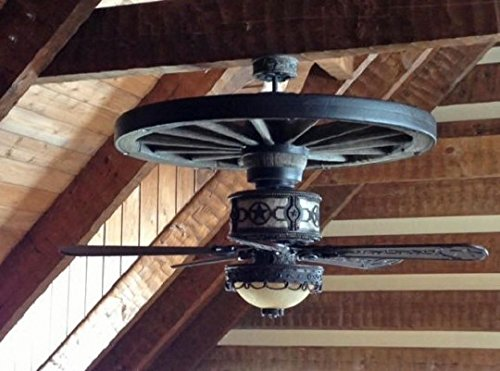 Sheridan Wagon Wheel Ceiling Fan 52' Blades with Silver Mica with Light Kit
